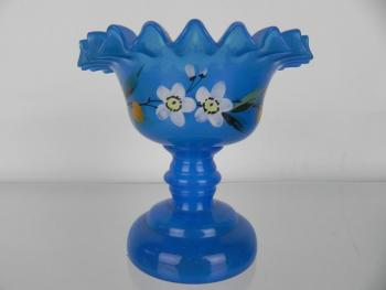 Glass Pedestal Bowl - blue glass - 1870