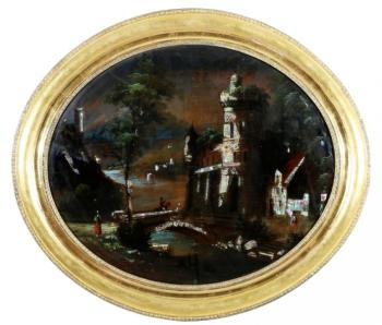 Romantic Landscape with Castle - pearl, glass - 1850
