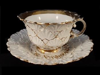 Cup and Saucer - white porcelain - Meissen - 1900