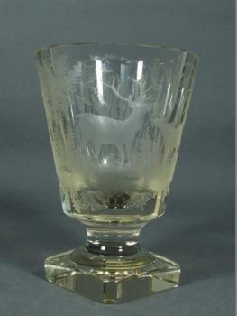Glass Goblet - cut glass, clear glass - Harachov - 1890
