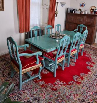 Dining Table and Chairs - solid oak - 1960