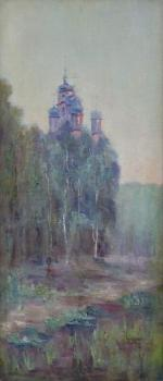 Orthodox church in the landscape with birches