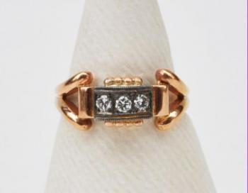 Ladies' Gold Ring - diamond, rose gold - 1945
