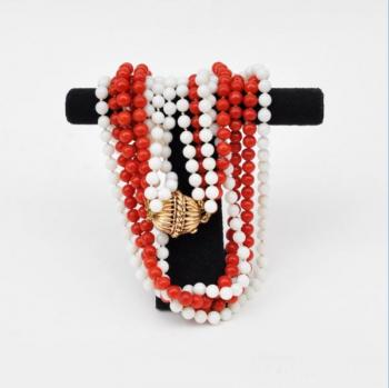 Necklace - gold, coral - 1950