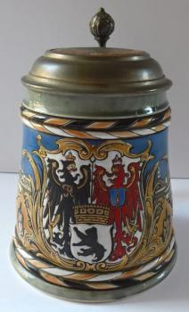 Ceramic tankard, tin lid, with Berlin motive