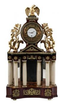 Column Mantel Clock - alabaster, wood - 1840