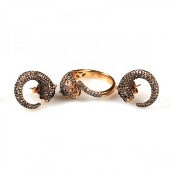 Gold Earrings with Brilliants - brilliant cut diamond, rose gold - 2000