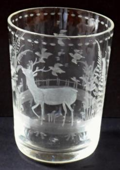 Cup with deer, birds and tree