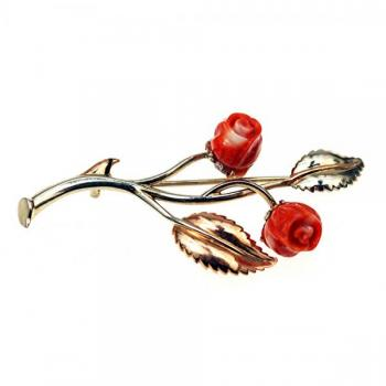 Twig Shaped Brooch - gold, coral - 1935