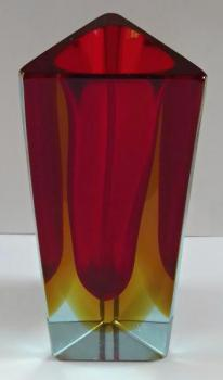 Triangular vase, yellow and ruby staining - Murano