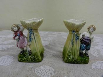 Pair of Porcelain Vases - majolica - 1920