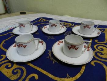 Set of Porcelain Mugs - white porcelain - 1907