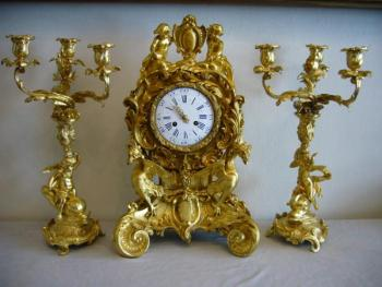 Clock with Pair of Matching Candelabra - 1790