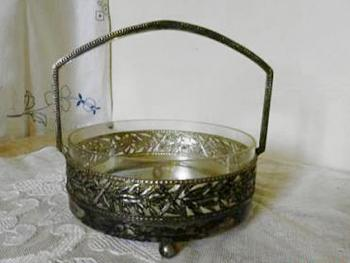 Glas Bowl in Metal Mounting - metal, glass - 1900