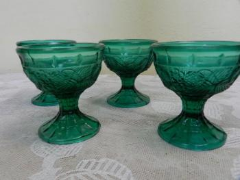 Glass Dishes - green glass - 1930