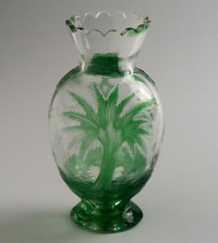 Glass Vase - clear glass, green glass - 1925