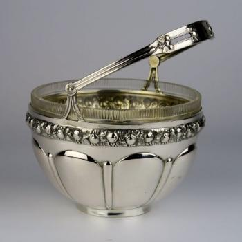 Small Basket - clear glass, silver - 1920