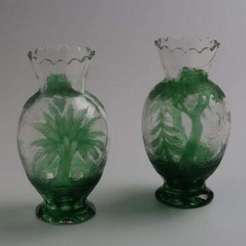 Pair of Vases - clear glass, green glass - 1925