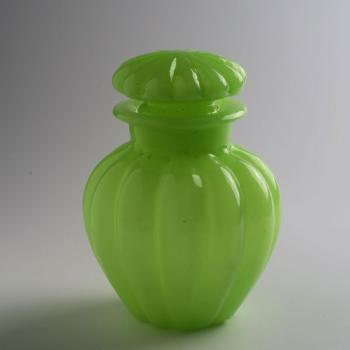 Flacon - milk glass, green glass - 1850
