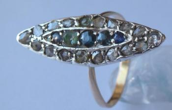 Gold and silver ring with colored stones and diamo
