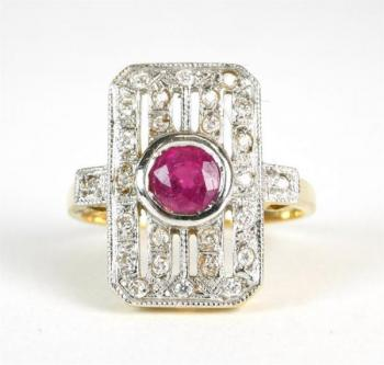 Diamond ring with natural ruby