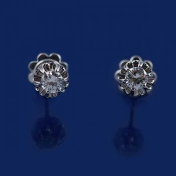 Gold Earrings with Brilliants - gold, brilliant cut diamond - 1970