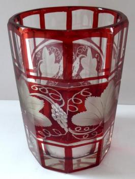 Ruby red and clear glass, edges, with vine leaves