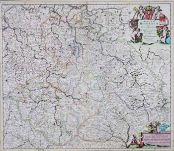 MAP OF BOHEMIA, MORAVIA, SILESIA