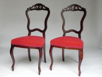 Pair of Chairs - solid wood, walnut veneer - 1870