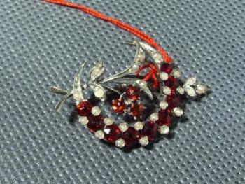 Brooch - silver, ruby - 1900