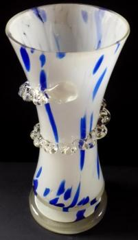Vase with white and blue glass - clear spiral