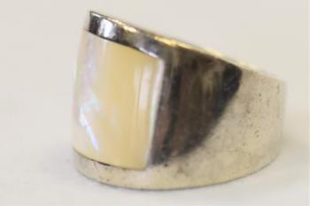 Silver Ring - pearl, silver - 1950