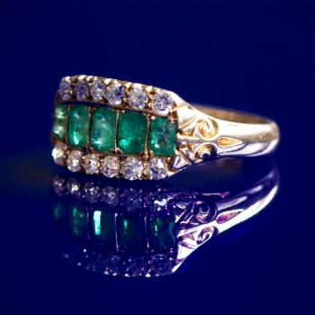 Ring - gold, emerald - 1900