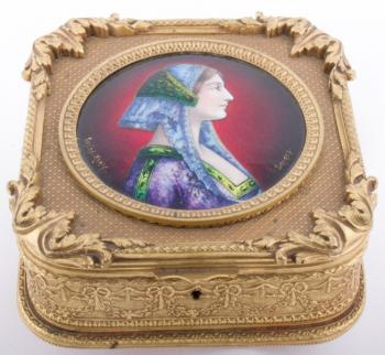 Jewelry Box Decorated - enamel, metal - 1900