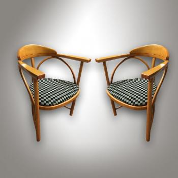 Pair of Armchairs - solid beech, bent beech - design Michael Thonet, Rondo No 8, 1904 - 1970