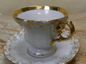 Cup and Saucer - white porcelain - Altwasser - 1900
