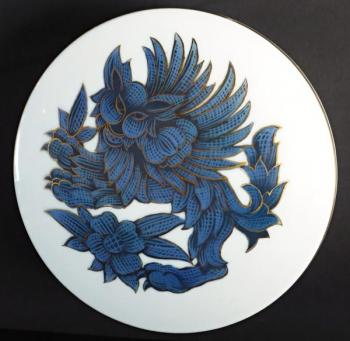 Large porcelain box, blue lion - Rosenthal