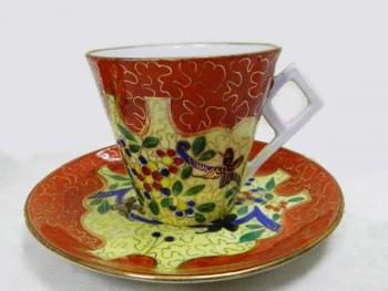 Cup and Saucer - white porcelain - 1930