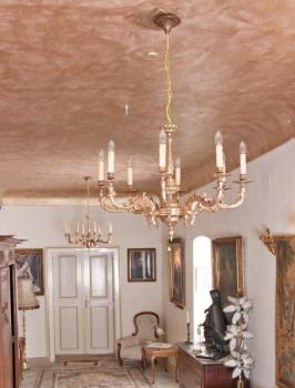 Eight Light Chandelier - gilded brass - 1960