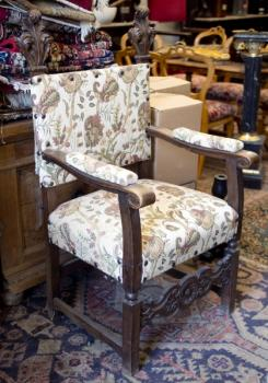 Armchair - solid wood, fabric