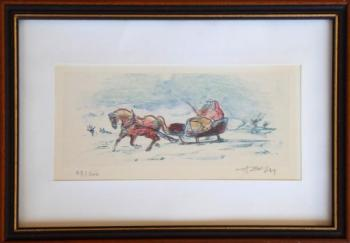 Winter motif with sleigh - illegible signature
