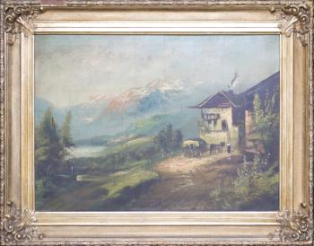 Romantic Landscape - wood, canvas - 1900