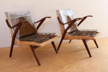 Pair of Armchairs - lacquered beech - 1960