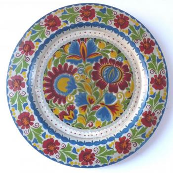 Wooden plate with painted colorful flowers