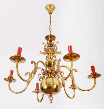 Six Light Chandelier - brass - 1950