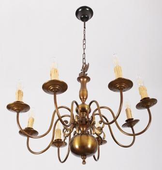 Eight Light Chandelier - patinated brass - 1970