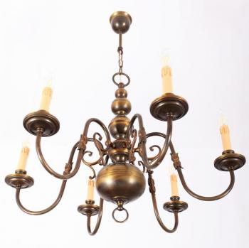 Six Light Chandelier - patinated brass - 1970