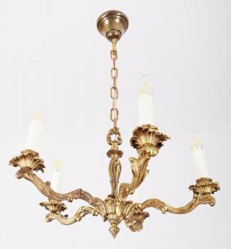 Five Light Chandelier - patinated brass - 1960