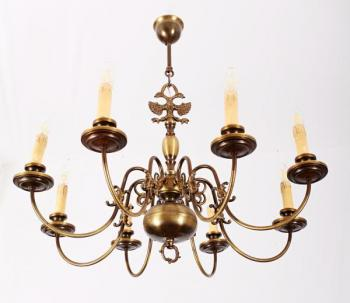 Eight Light Chandelier - brass - 1970