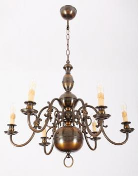 Six Light Chandelier - patinated brass - 1965
